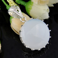 Wholesale Vintage Moonstone - 2016 Special Offer Unisex Sterling Silver Jewelry Necklace Hot Sell Product Vintage Pendants for Jewelry Round Fire Moonstone Pendants P0037