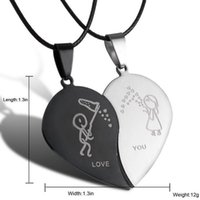 Wholesale Stainless Steel Jewelry Engraved - 2PCS New Couple Broken Heart Choker Necklaces Black Cord Necklace Stainless Steel Engrave Love You Pendants Necklace Jewelry