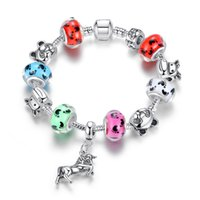 Wholesale Porcelain Horses - European Pandora Style Charm Bracelets with Colorful Murano Glass Beads & Curious Cat Charms & Flying Horse Dangles Bangle Bracelets BL134