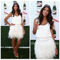 White Scoop Mantel Feather Cocktailkleider Kurz Mini 2017 Sleeveless Besondere Anlässe Partykleider Berühmtheit Kleid