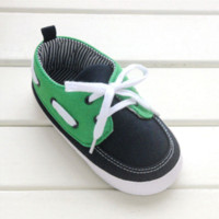 Wholesale Green Infant Shoes - 2016 infant shoe first walker boys green mix darkgreen color cotton baby shoes cool soft botton toddler sneaker good quality