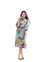 Wholesale Women S Soft Robes - White floral traditional mid-calf and three quarter cotton women long style robe Wedding gift women robe brithday gift soft cotton RDWL-2