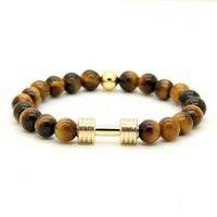 Barato Pulseira Cinza Prateada-Hot 1PCS Real Gold Silver Plated Metal Novo Barbell 8mm Gray Picture Jasper A Grade Tiger Stone Beads Fitness Força Dumbbell Pulseiras