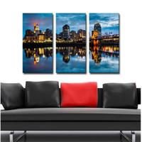 Wholesale city bridge paintings - 3 Picture Combination Wall Art Painting City Buildings Bridges Night Lights Landscape Pictures On Canvas City For Home Decor