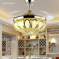 Wholesale Light Fan Colors - 42 inch Ceiling Fan Crystal Chandelier Lotus Ceiling Light Changeble Light Colors Remove Control Ceiling Fans Light Living Room