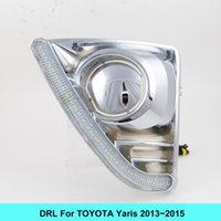 Wholesale Toyota Fog Light Bulb - Car DRL kit for TOYOTA YARIS 2013 2014 LED Daytime Running light bar fog lamp bulb daylight Turn Signal light car led drl