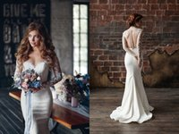 Wholesale Scalloped Bridal Gown - 2016 Vintage Sexy Berta Lace Mermaid Beach Wedding Dresses Boho Long Sleeve Illusion Appliques Sheer Bridal Gowns Rustic wedding guest dress