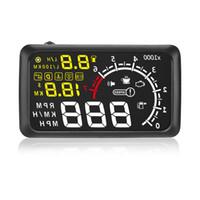 Wholesale Obd Km - 5.5 inch Screen Car HUD Head Up Display Car Styling Speeding Warning System 12V OBD II OBD2 Interface KM H