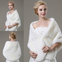 Wholesale Bead Shrug - Cheap Wedding Fur Wraps Free Shipping White Faux Fur Shrugs For Bride Beads Warm Cold Protection In Stock Bridal Shawls