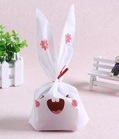 Wholesale paper bags plastic resale online - New Arrive pack cute rabbit ear cookie bags Self adhesive Plastic Bags for Biscuits Snack Baking Package food bag