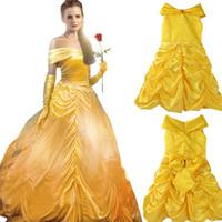 ingrosso abiti di fantasia giallo-Abito cosplay principessa Fiore fata giallo Abito bambini Fancy Party Natale Halloween Dress Costume Cosplay Ball Gown