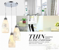 Wholesale Simple modern glass chandelier restaurant Three flower pendant light meal art Adjustable height pendant one package