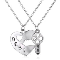 Wholesale Sliver Heart Necklace - 2016 New Arrival Fashion Sliver Jewelry Double Chain Best Friend Necklace Broken Heart Key Pendant Necklaces Gift For Girl 12PCS LOT