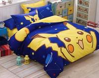 Wholesale Cotton Bedsheet Bedspread - 2016Fashio Poke printing Bedding Home Textile Pikachu Printing Bedding Duvet Cover Bedding Sheet Bedspread Pillowcase Set
