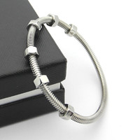 Wholesale Threaded Chain Bracelet - Factory price 2017 new 6 screw Bracelets men and women lovers thread titanium bracelet