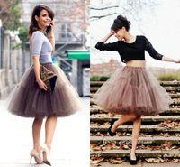 Wholesale Tutus Faldas - In Stock 2017 New Summer Tutu Tulle Skirts Fashion Skirts Women Party Knee-Length 6 Hoops saias femininas formal faldas cortas CPA539