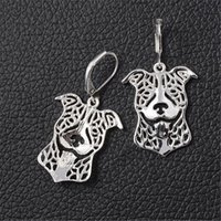 Wholesale Excite Woman - Wholesale- RONGQING 1pair Excited Pit Bull Terrier Hoop Earrings Tiny Fashion Alloy Dog Pendant Earrings for Women