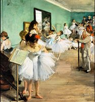 Wholesale dancing art oil painting resale online - Framed THE DANCING CLASS By Edgar Degas Pure Handpainted impressionism Art oil painting On High Quality Canvas Multi Sizes Available