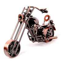 Wholesale Handmade Metal Motorcycles - 2016 Hot Sale 1pcs Desktop Decoration wrought Handmade Iron Motorcycle Model Motorbike Metal Crafts Christmas Gifts