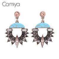 Wholesale Joyas Jade - Comiya Stone Charms Personality Ethnic Long Geometric Dangle Earrings Bohemian Stylish Pendientes Mujer Moda Alloy Glass Joyas