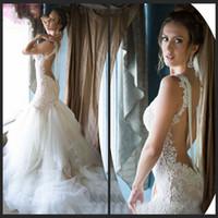 Wholesale Trumpet Wedding Dress Real Sample - Real Sample Backless Pearls Mermaid Wedding Dresses Vintage Lace Wedding Dress 2016 Vestido De Noiva Summer Dress