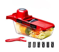 Wholesale fda manual - 10pcs set Mandoline Vegetable Slicer Cutter 6blades Stainless Steel Blade Manual Potato Peeler Carrot Grater Dicer Storage Container