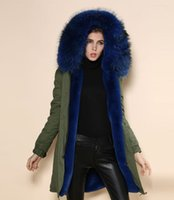 Women cashmere coat suppliers - 2016 warm Parka Winter FOX FUR blue large elegant collar coat coat factory supplier price