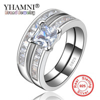 Wholesale pure silver wedding rings - YHAMNI 100% Pure Silver Wedding Ring Sets for Women Trendy Style Bijoux Vintage Engagement Women Jewelry Accessories R129
