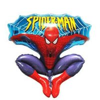 Wholesale spiderman toy model online - 2016 new Aluminum Happy Spiderman Red Balloon for Wedding Birthday Party Supplies Decoration Cartoons Foil Ballon