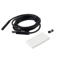 mini usb kablo inceleme kamera toptan satış-7mm Mini USB Mikroskop 2 M 6 LED Kablo Yılan Muayene Borescope Endoskop Kamera Düğmesi Ile Ayarlanabilir Parlaklık