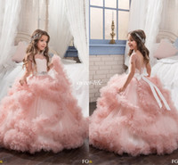 Wholesale Cheap Blush Formal Dresses - Blush Ball Gown Short Sleeves Flower Girl Dresses Crystals Puffy Tulle Sash Backless 2017 Cheap Girls Pageant Dress Little Child Formal Wear