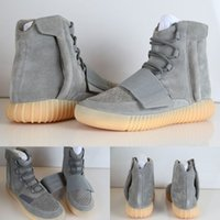 Wholesale Cheap Discount Kanye West Boost Light Grey Gum Glow Gum In Dark New Version Boots Pirate Blackout Men s High Top Sneakers Kids shoes