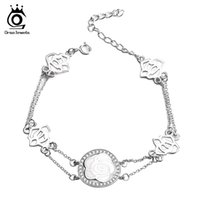 Wholesale Chain Link Images - ORSA JEWELS Newest Design Beautiful Flower Image Bracelet with AAA CZ Big Brand Jewelry Bracelet OBB29