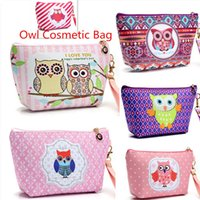 Wholesale Owl Organizer - 2017 Women Portable Owl Cosmetic Case Pouch Zip Toiletry Organizer Travel Makeup Make Up Wash Organizer Storage Makeup Pouch bags
