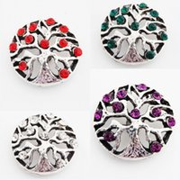 Wholesale button element - Pack Of 10pcs 4 Color Snap Buttons Life Of Tree 18mm Crystal Metal Charm Rhinestone Rivca Snaps Jewelry NOOSA Chunk E620E