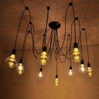 Wholesale Pendant Light Vintage Bulb Diy - 6 8 10 12 14 bulbs flexable light Edison Ancints Vintage Chandeliers DIY Ceiling Pendant suspended lamp