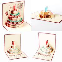всплывающая открытка день рождения бесплатно оптовых-Новый ручной работы киригами оригами 3D всплывающие поздравительные открытки со свечой дизайн для Дня Рождения Бесплатная доставка
