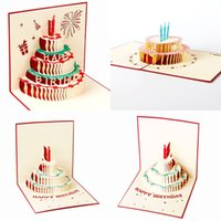 Wholesale 3d Handmade Card Designs - New Handmade Kirigami & Origami 3D Pop UP Birthday Cards with Candle Design For Birthday Party Free Shipping