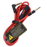 Wholesale multimedia audio control resale online - Newest mm Extension AUX Audio Cable Replacement Red Cable for Studio Heaphone with Control Talk with Logo