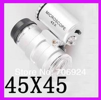 Wholesale 45x Lighted Pocket Microscope - Pocket Size 45X 45 X Mini Jewelry Loupe Magnifier Jewel Microscope Endoscope 2 LED Light + Black leather case 100pcs lot wholesale