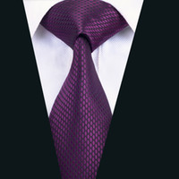 Wholesale meeting quality - Classic Silk Tie Purple Solid Necktie High Quality Mens Ties Jacquard Woven Business Wedding Meeting Party Free Shipping D-1436