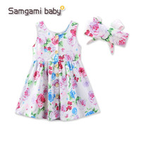 Wholesale Pleated Headband - Hot baby girls dress summer floral dresses cute infant vest skirt baby girls dress+headband 2pcs set children cloyhes