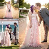 color de otoño tul al por mayor-2019 Blush Fall A Line Vestidos de novia Sweetheart Tulle Sweep Train con apliques de flora Vestidos de novia de boda a medida