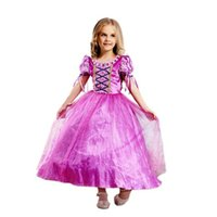Wholesale Rapunzel Cartoon - Girl's New Princess Rapunzel Party Costume Dress for Age 2-12Y Purple Cartoon Birthday Dance Party Dresses