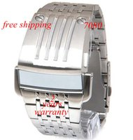 Wholesale Mirror Led Watch Round - free shipping Men's 7080 Silver SBA LED Digital Mirror Dial Watch