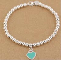 Wholesale Sterling Silver Wholesale Free Shipping - 2016 New TOP QUALITY 925 sterling silver Beaded Bracelet bracelets Women Jewelry Nail Cuff Love Bangle Free shipping