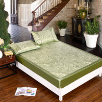 Wholesale Sweet love words sent home fitted summer pillowcase mat double icy jacquard bed cover rattan seats king queen