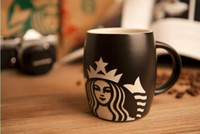 Wholesale starbucks ceramic coffee cups - Classic Starbucks Mermaid logo bust Coffee Cup red & black wine Ceramic Mug Breakfast cup for coffee milk