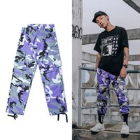 Wholesale Red Camo Cargo Pants - Autumn Winter Hot Sale Youth Camo Mens Fashion Sport Pants Cargo Casual Boy Camouflage Oversize Contrast Color Pocket Zipper Full Length