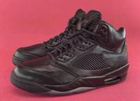 Wholesale Black Leather Flight Jacket - Air J5 Retro Premium FLIGHT JACKET Leather Triple Black Mid cut Men's basketball Sneaker sport boot sneaker for men